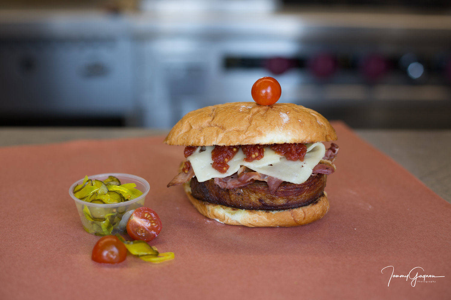 Burger Roll Up - Spinach, Bacon, Havarti, Homemade Tangy Ketchup and Homemade Spicy or Sweet Pickles.