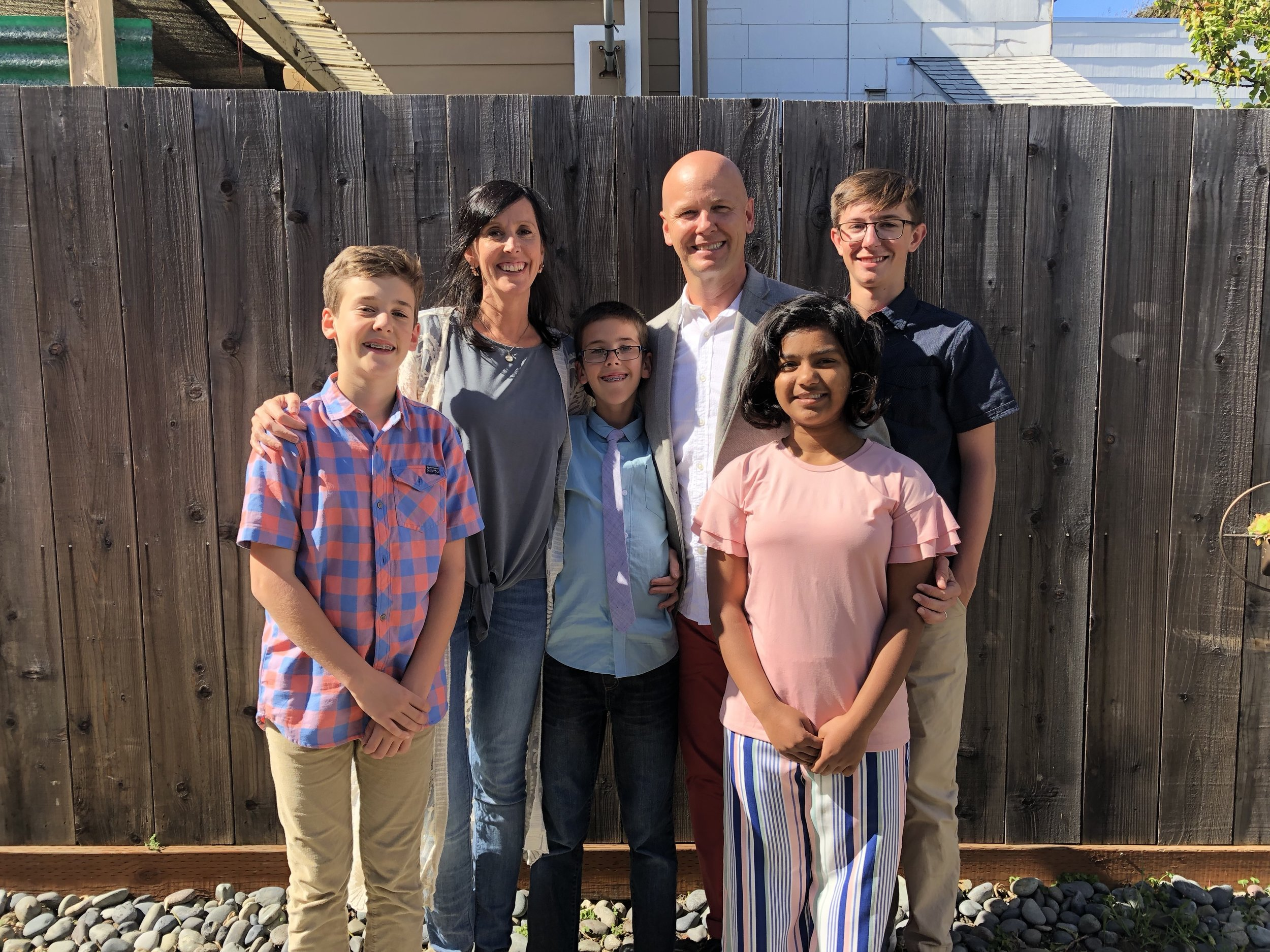 L to R: Samuel (age 13) me, Asher (age 11), Ben (married for 18 years), Kavita (age 13), and Elijah (age 15)