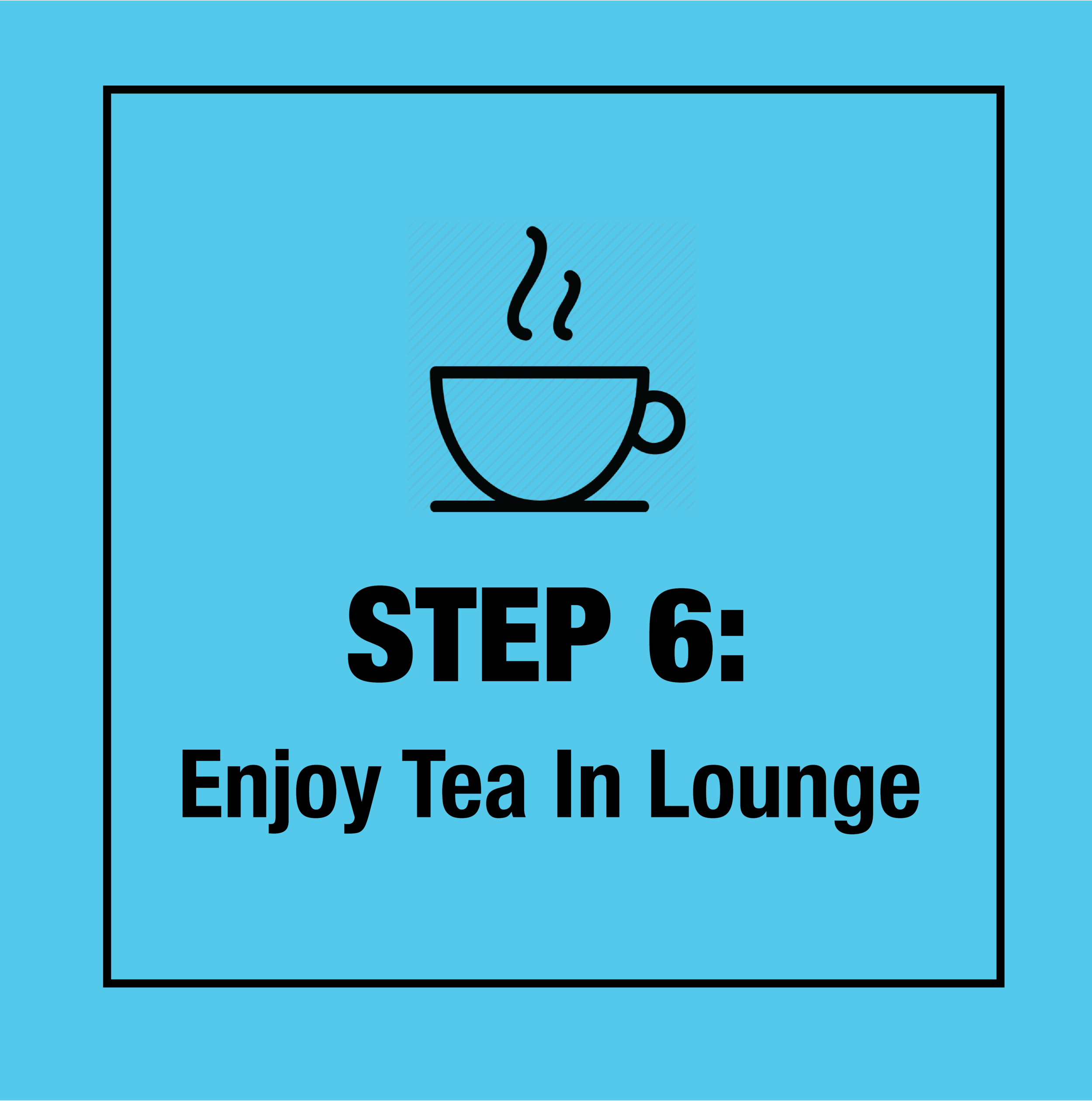 Exit the chamber, put on your robe and warm up with some hot tea or a snack from the Cafe.