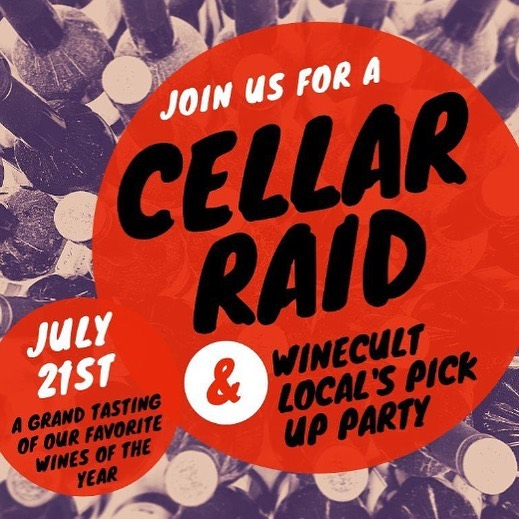 YOU ARE INVITED! We will be hosting our first annual Cellar Raid Party- a grand tasting of the many different wines we have featured over the last year! Awesome wine, food, music and good times will be had - Get your tickets now (link in bio).