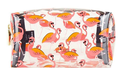 Skinnydip Clear Flamingo Makeup Bag