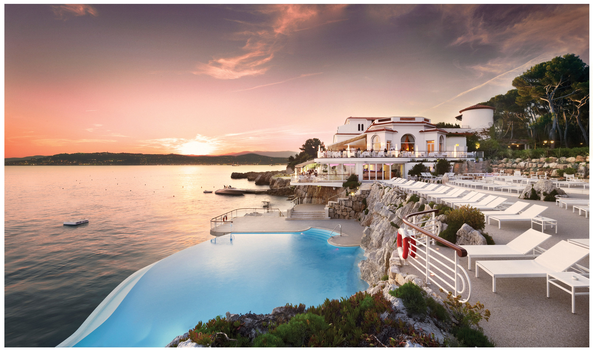Swimming at sunset at Hotel du Cap–Eden-Roc, French Riviera.