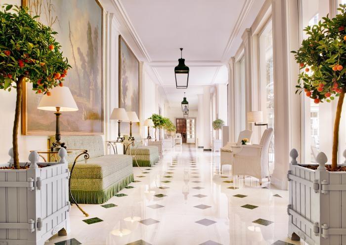 The grand entryway of the Le Bristol Paris hotel.