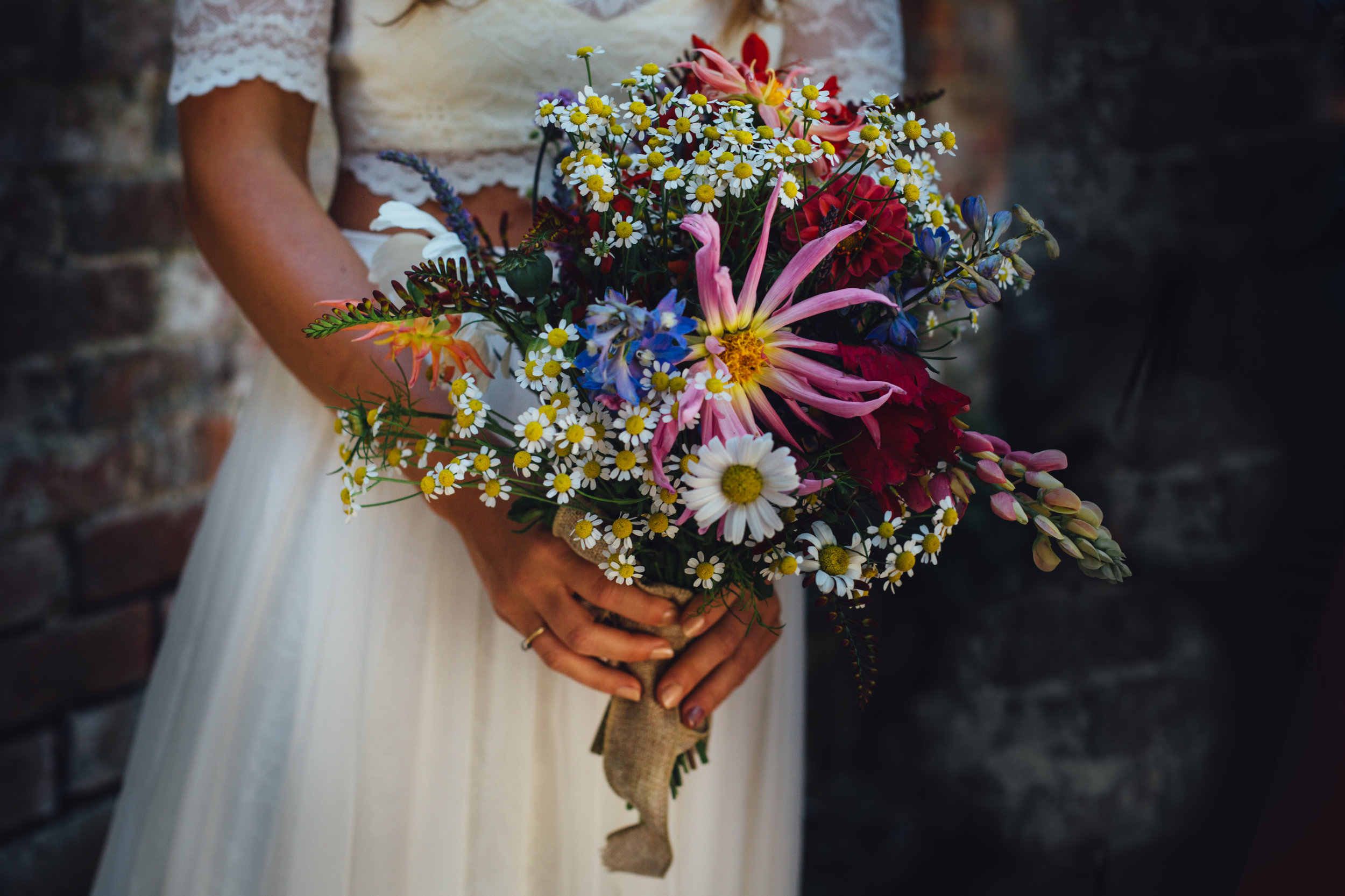 A bouquet using flowers from our walled garden