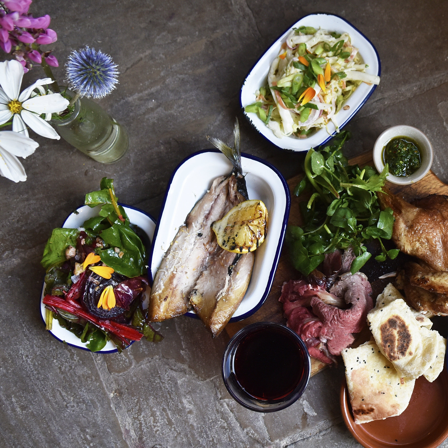 A typical Fire Pit Feast using homegrown ingredients
