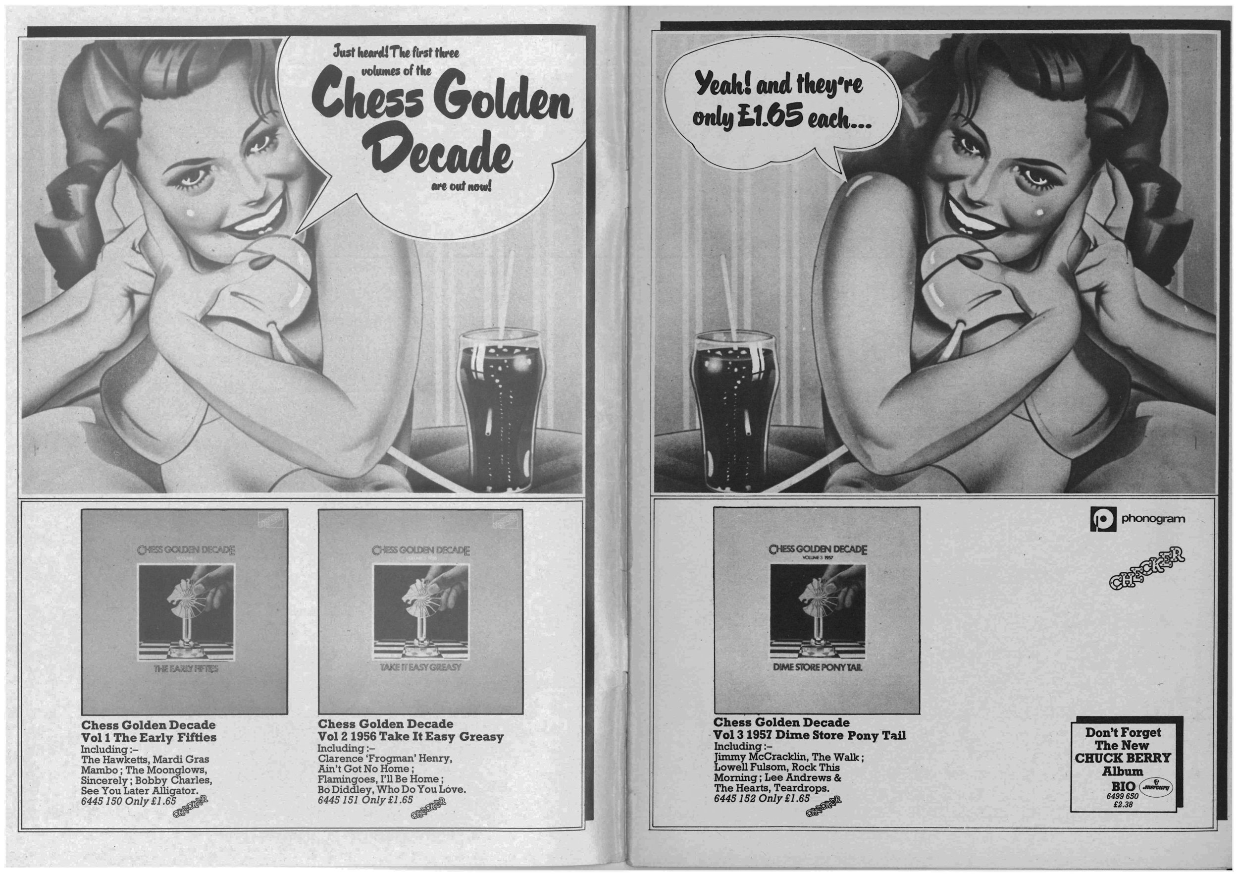 The first three volumes of Chess nostalgia given a two page spread in the November 1973 edition of  Let It Rock.  Like so much of the rock 'n' roll revivalism imagery it used a Philip Castle styled airbrushed update on Pop art: 50s iconography filtered through 60s Pop to get to that perfect expression of the early-mid-1970s art rock.