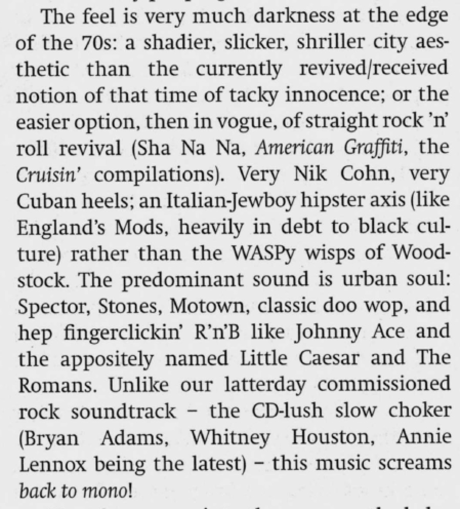 A superb essay from Ian Penman, he captures the film better than any other critic and he's so good on the music.   Sight and Sound  (April 1993)