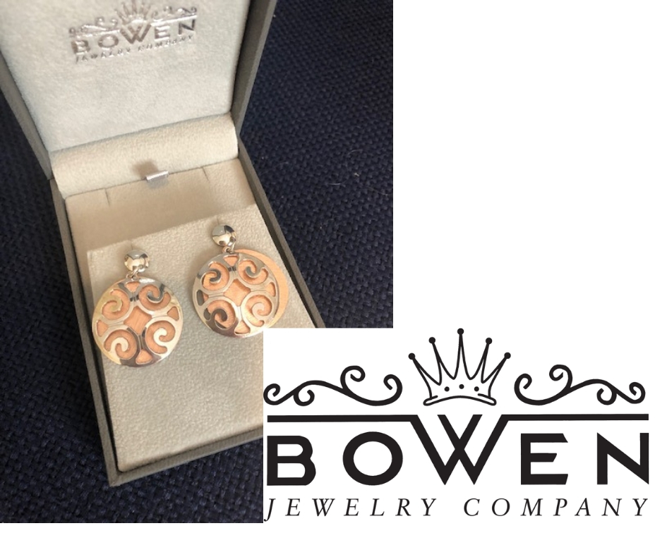 Bowen Package - Donated by: Bowen Jewelry, Value: $370This package includes gorgeous sterling silver earrings with an underlay of rose and a $100 Bowen gift certificate! Bowen Jewelry Company is a family-owned and operated business and have proudly served Central Virginia and the Lynchburg area since 1933.