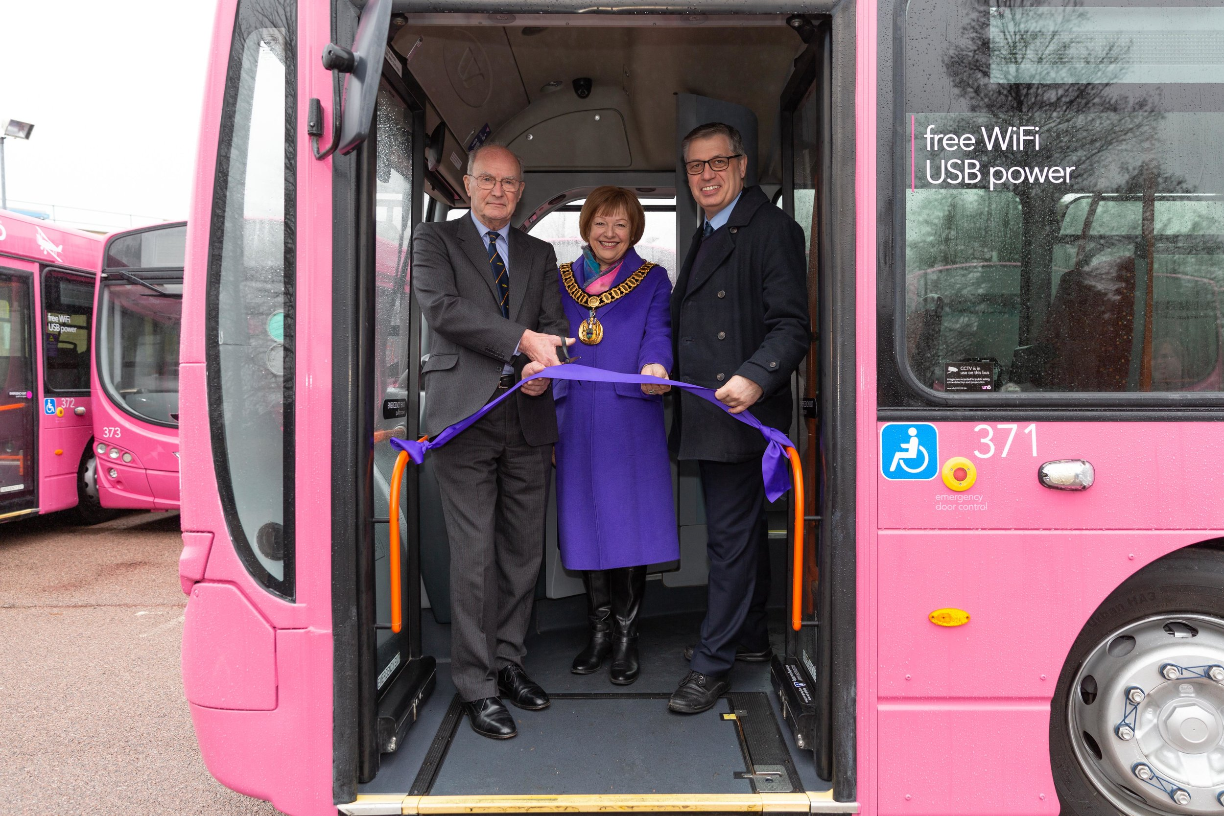 From left to right: John Lumsden Marion Wilberforce's nephew, The Mayor of the Borough of Welwyn Hatfield Cllr Barbara Fitzsimons and Jim Thorpe MD of Uno Buses