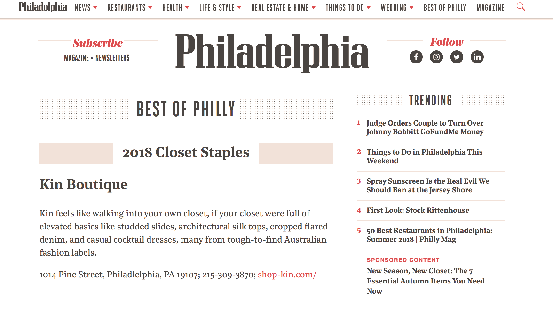 Philly Magazine | Best of 2018