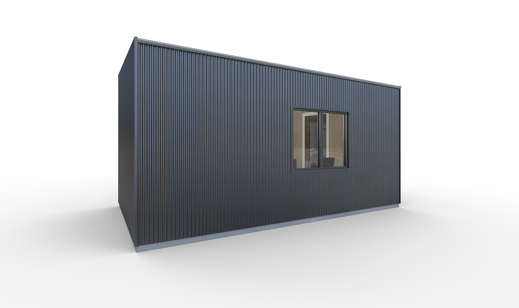 The sides and back are clad in charcoal steel panels. Or continue the cypress siding as an optional upgrade.