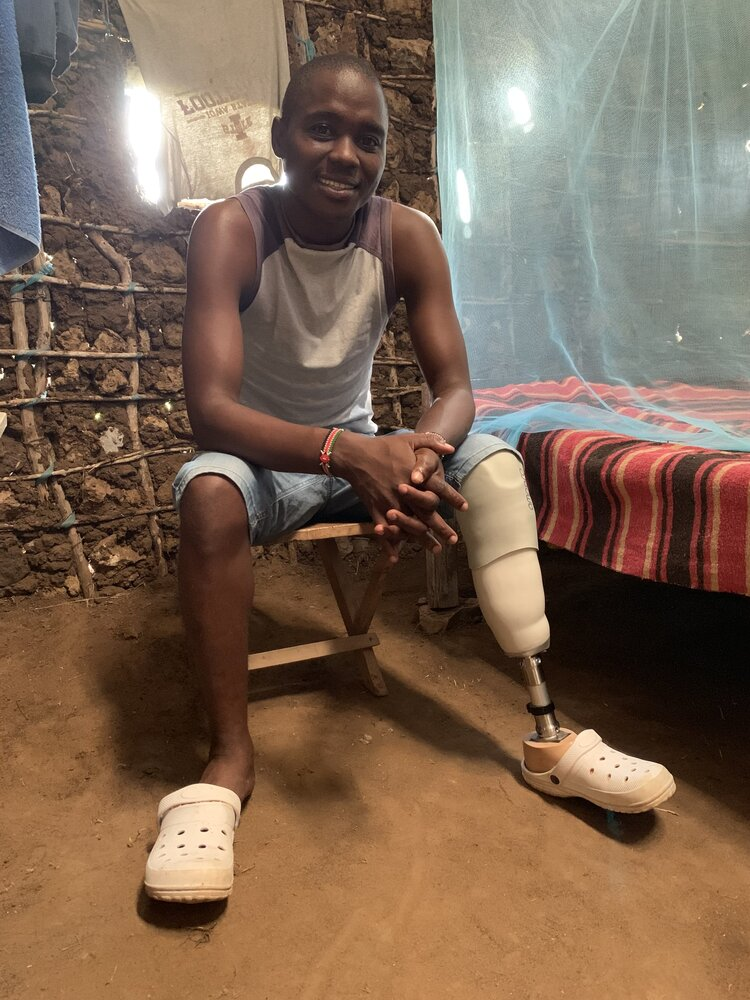Arnold wearing his Confidence Socket at home in Malindi.