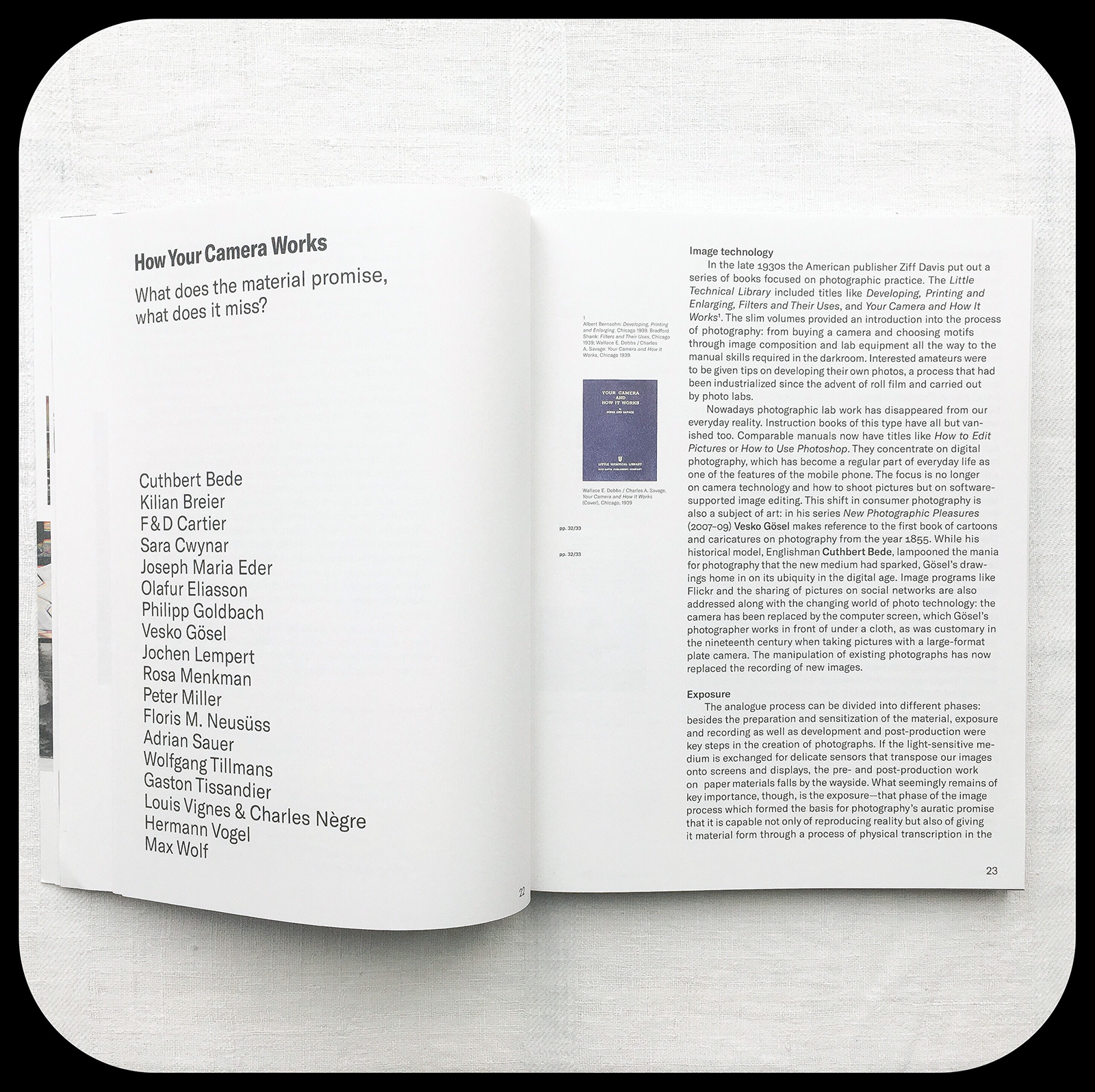 """FAREWELL PHOTOGRAPHY, Introduction """"How Your Camera Works / Biennale aktuelle Fotografie 2017 / artists list"""