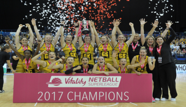 Wasps   won  the 2017  Superleague  title in their debut season, beating Loughborough Lightning 55-51 in the Grand Final