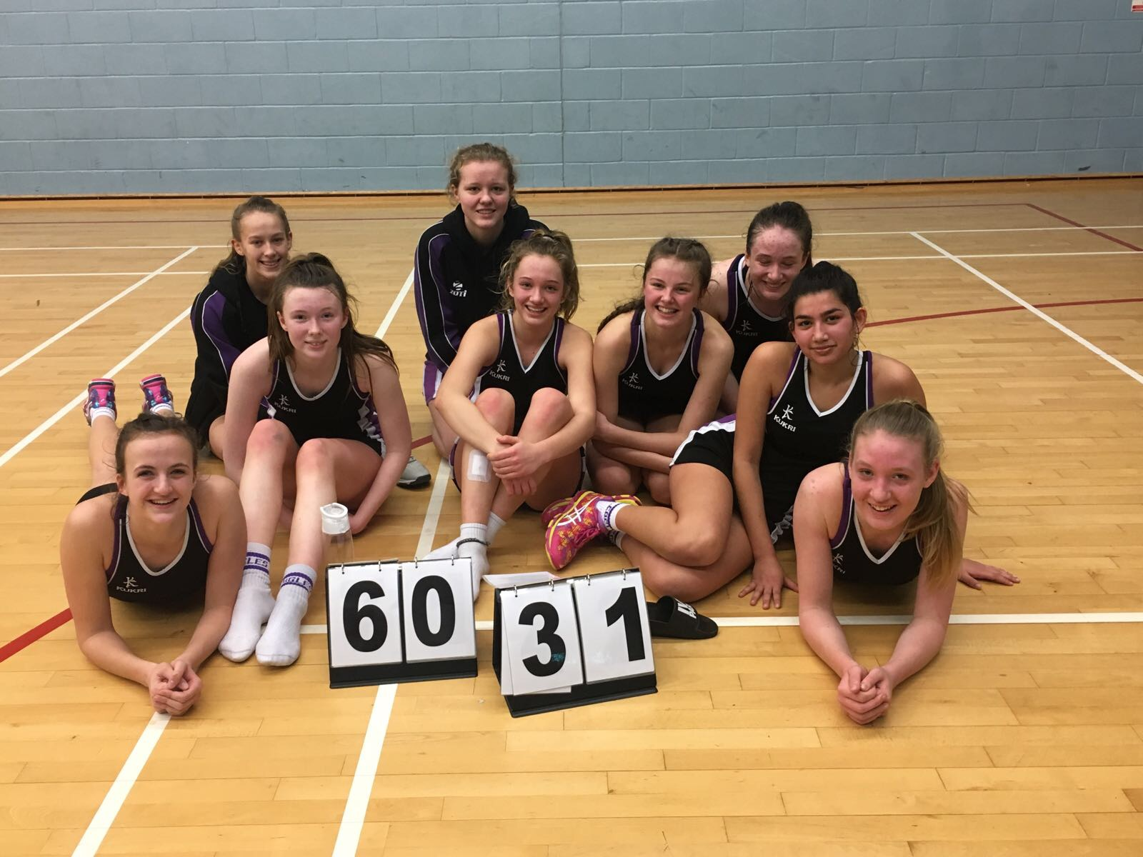 In the photo:   Front row from left:  Emily Secker (GS), Charlotte Jennings-Evans (GA), Chloe Duncan (C), Izzy Merrick (WD/GK), Maria Maier (WD/C) and Katie Fisher (GD).   Three in back from left : Olivia Treacy (GK), Kate Godsmark (GS), Abbie Watson (WA)