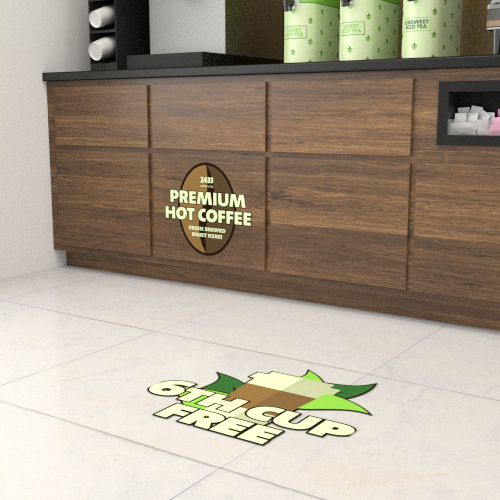 Wall, Floor, ceiling, Window, Door &counter graphics - The physical environment of a building is a powerful place to display well-designed POP graphics.