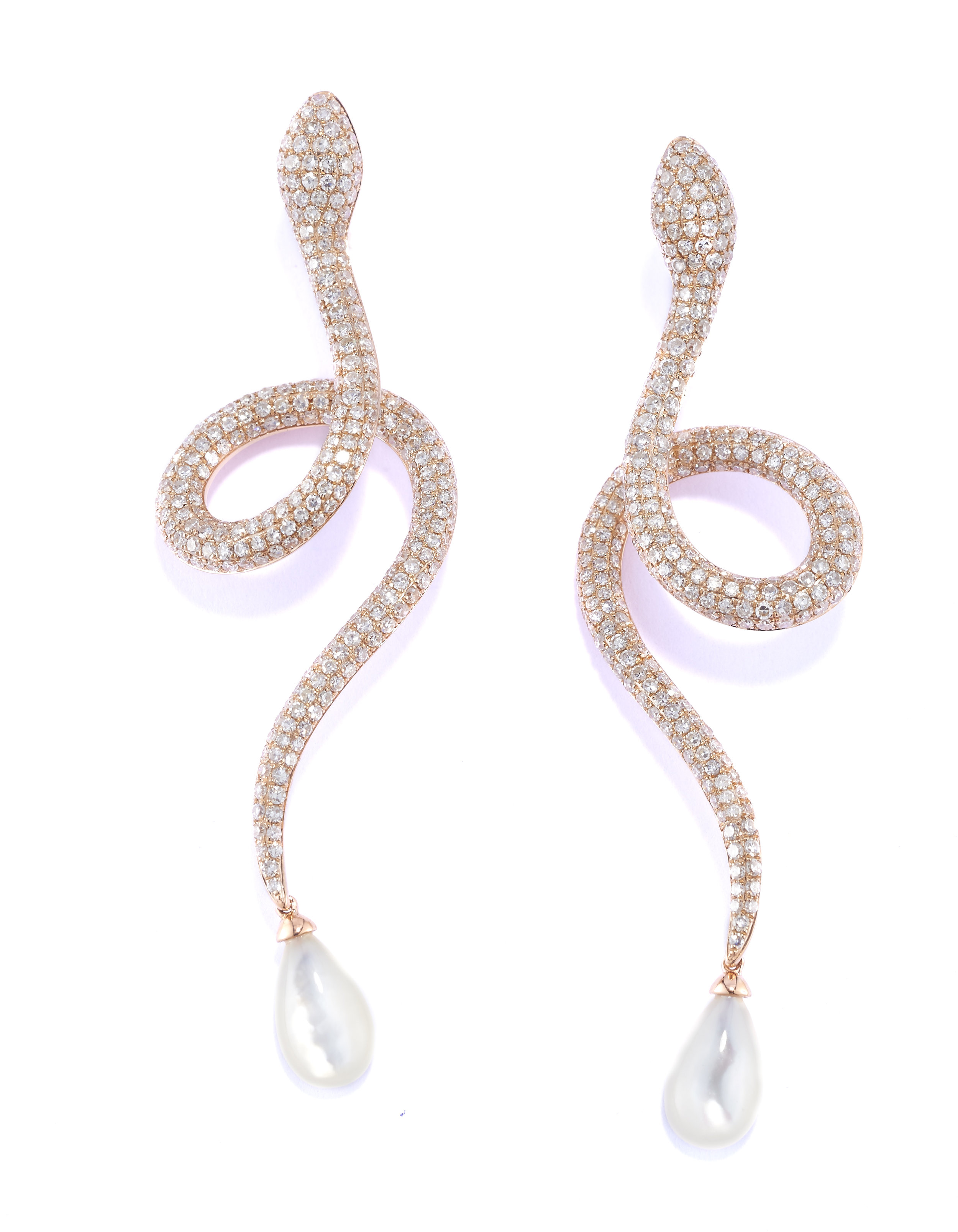 Signature pave white diamond serpents with a pearl drop, in polished 18k rose gold