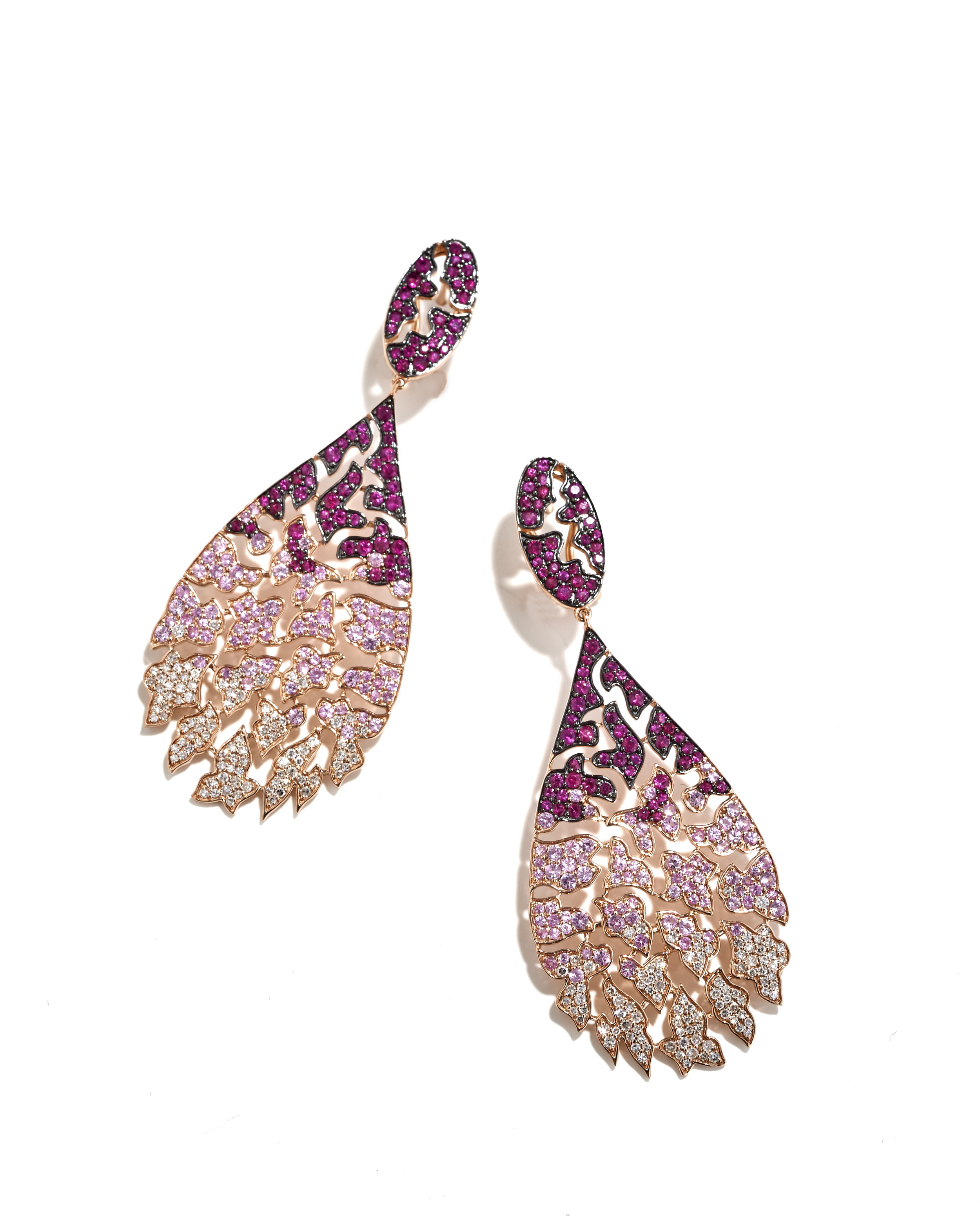 Ruby, pink sapphire and diamond drop earrings, in 18k rose gold