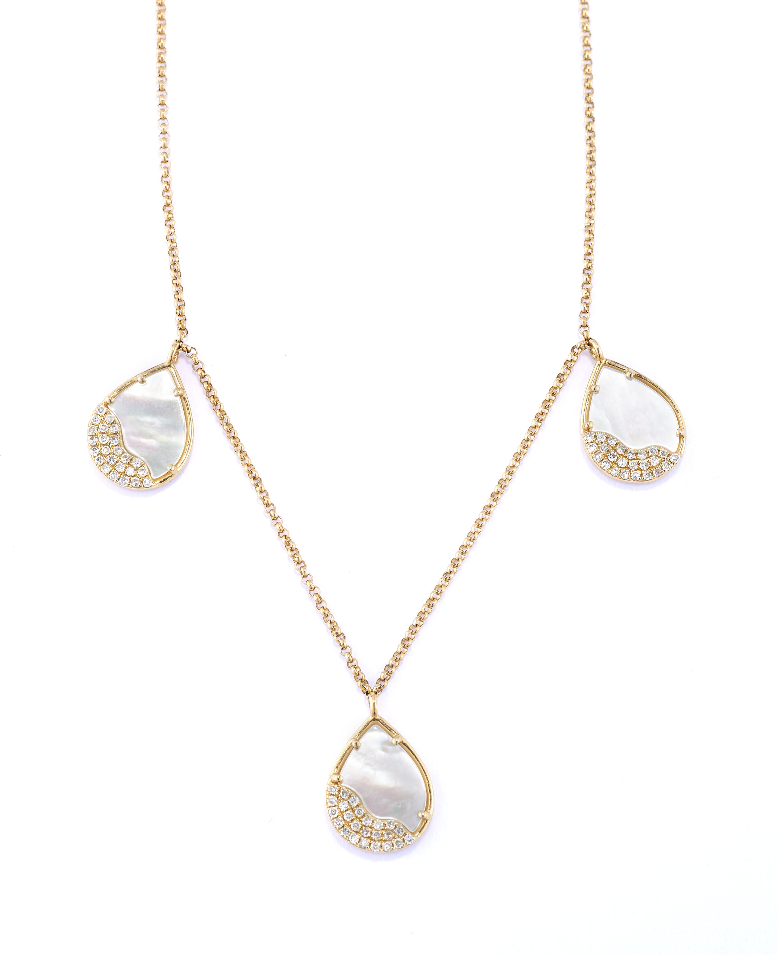 Mia Luna Petite Drop Trio - A sweet addition to the Mia Luna collection, three petite drops look gorgeous alone or layered hanging from their delicate chain. A masterful interpretation of the classic Mia Luna shape by PATRICIA ROBALINO.