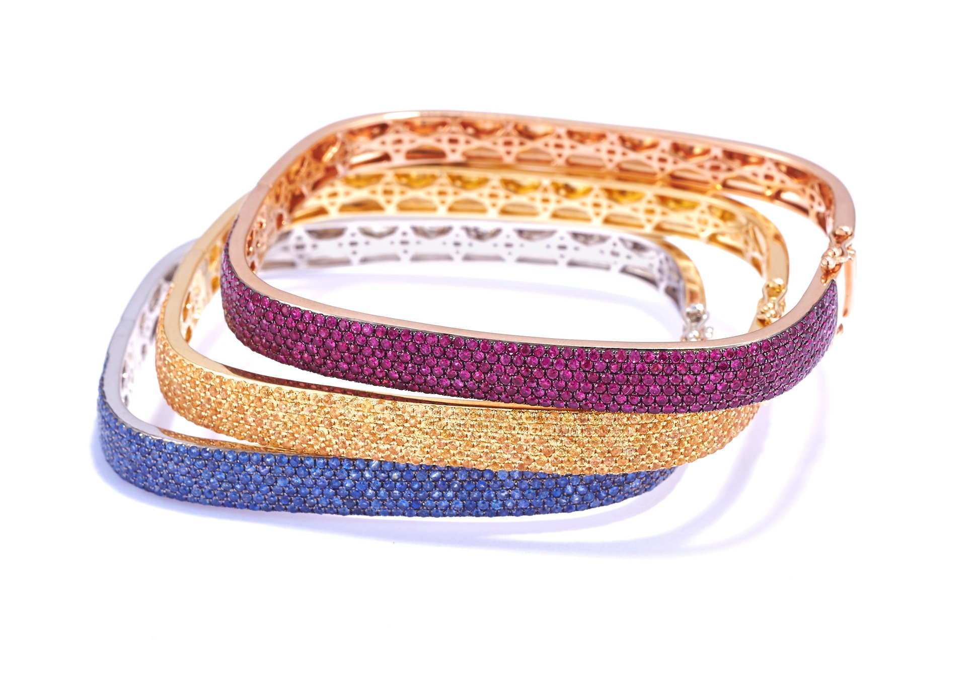 PR classic square bangles - These are the bangles Patricia herself wears every day. A spin-off of Patricia's classic square-shaped diamond bangle. Available in every color of the rainbow