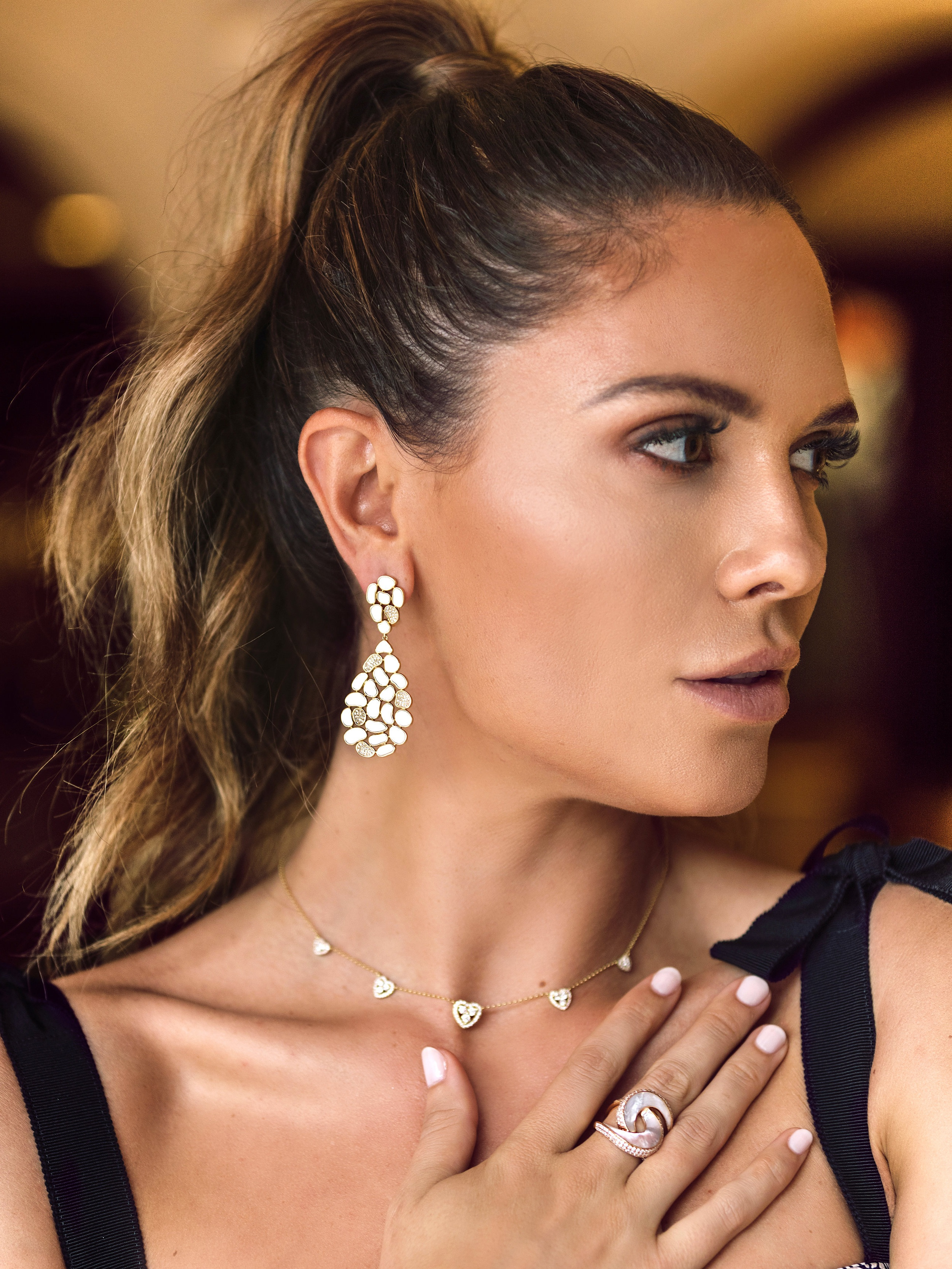Luna Nueva Drop Earrings - The newest version our Mia Luna drops embraces Patricia's signature use of pave diamonds and mother-of-pearl. Instead of the classic flat facade, the Luna Nueva earrings offers a cluster of diamonds and mother-of-pearl adding richness and wearability.