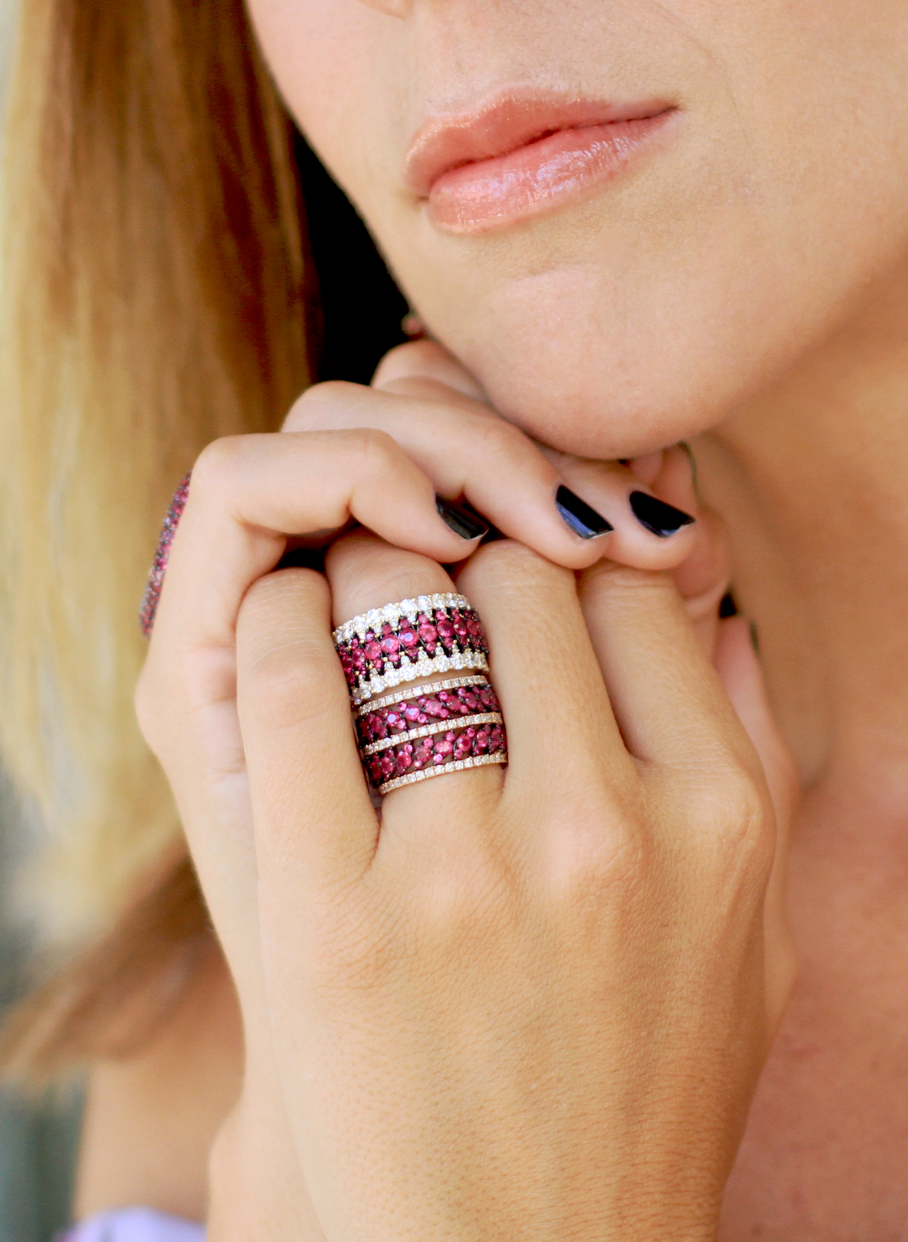 Ruby and diamond eternity rings. Available in all our rainbow colors.
