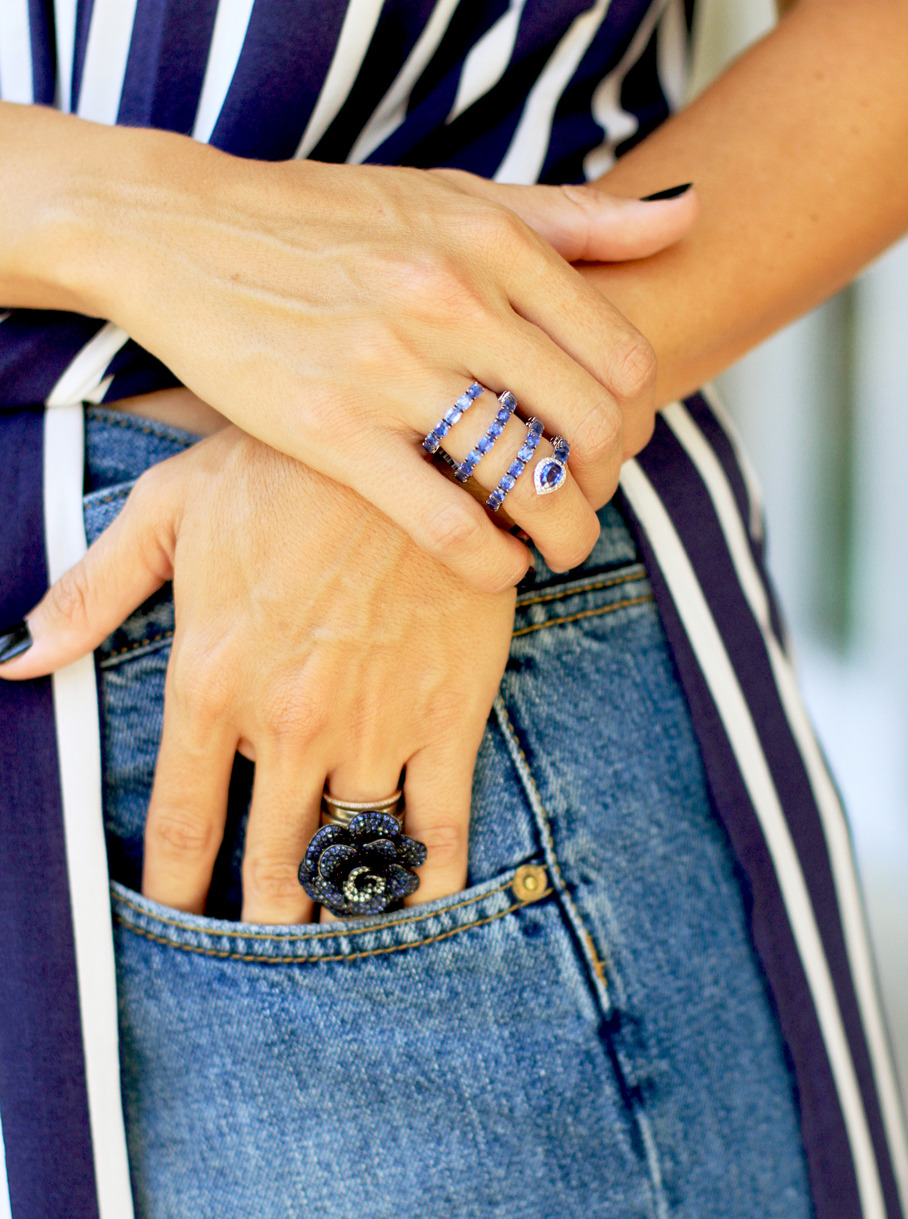 Two of our rainbow favorites: sapphire floral statement ring and kyanite serpent.