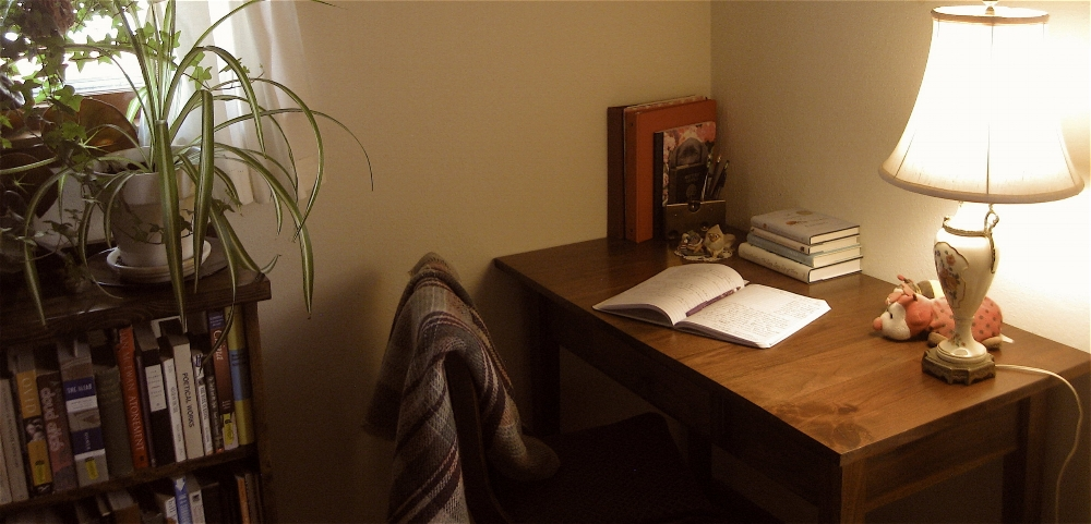 My writing nook at my house in Laramie, WY.