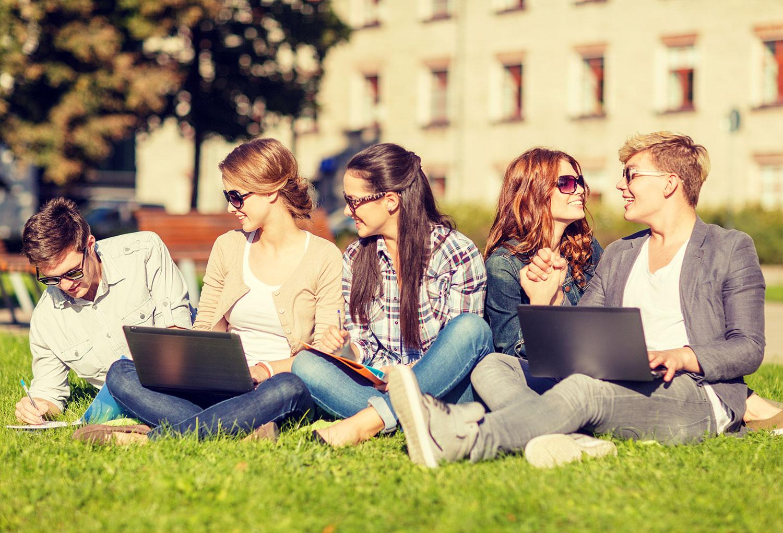 college kids enjoying nature