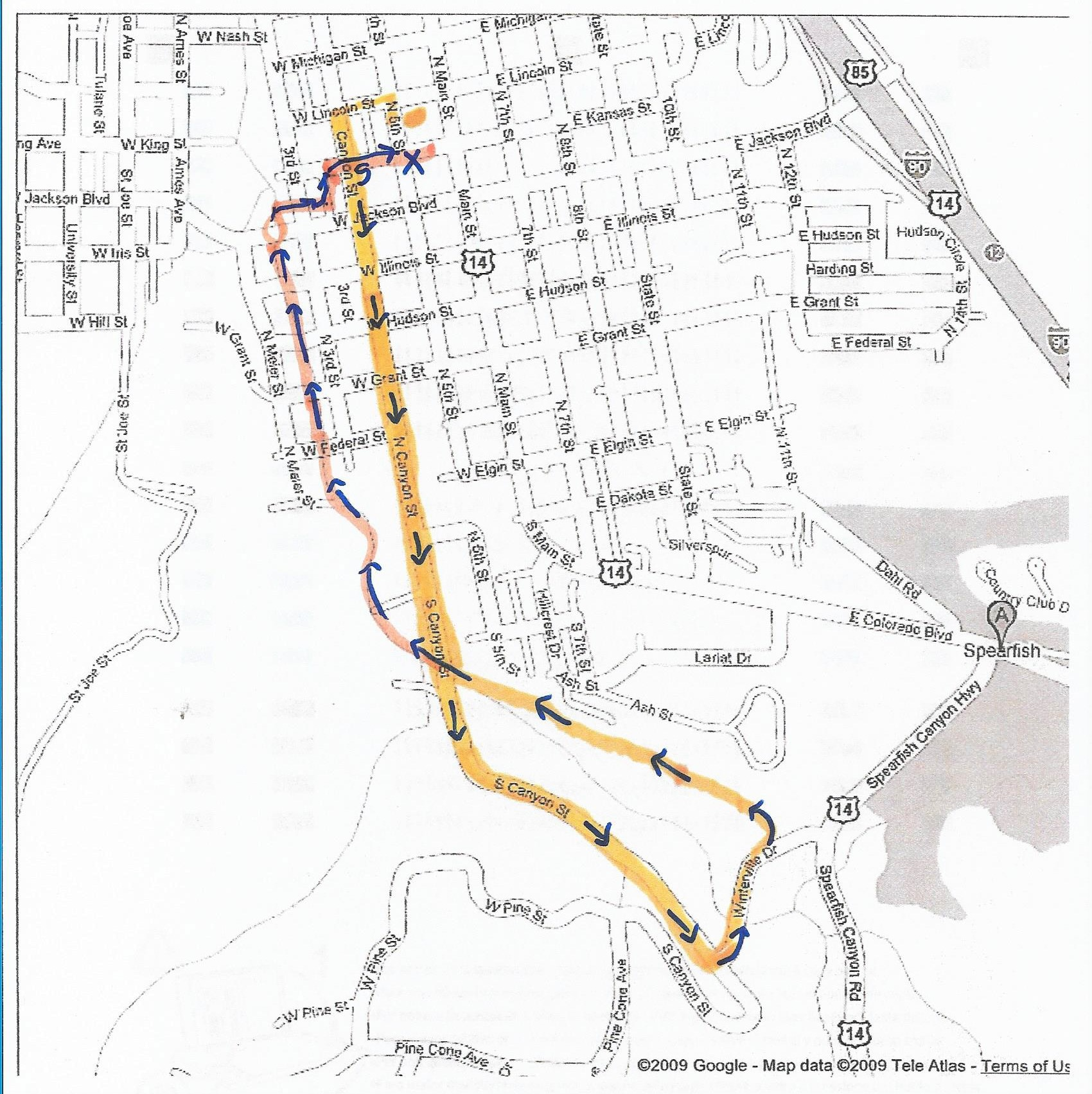 Course Map - 5K (3.1 miles)Starting near St. Joseph's Catholic Church, run along Canyon St, then Winterville Dr will connect you to the bike trail. Follow the bike trail back to the Fish Hatchery, along the creek in the City Park, through Salem Park, under the bridge at Jackson Blvd, and back to the finish line on Kansas St.