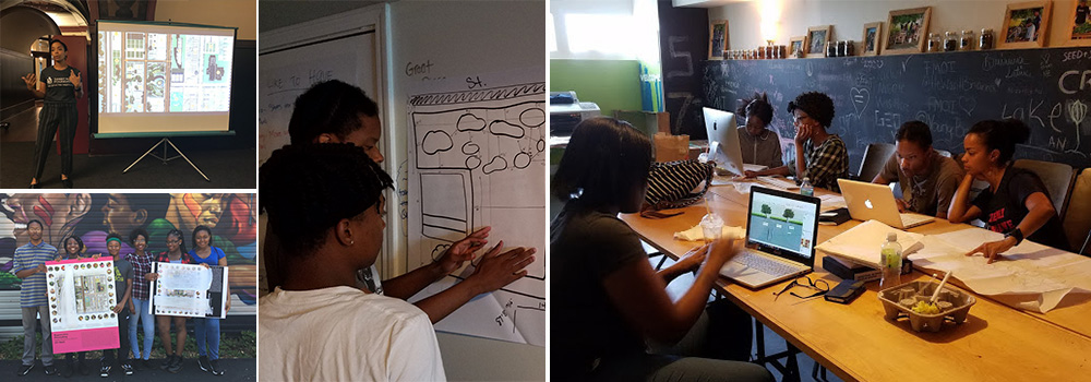 In Summer 2017, SWF youth apprentices and CAF teen fellows engaged in the design of a Pocket Park as part of the Re[CREATE]Ed Spaces Program.