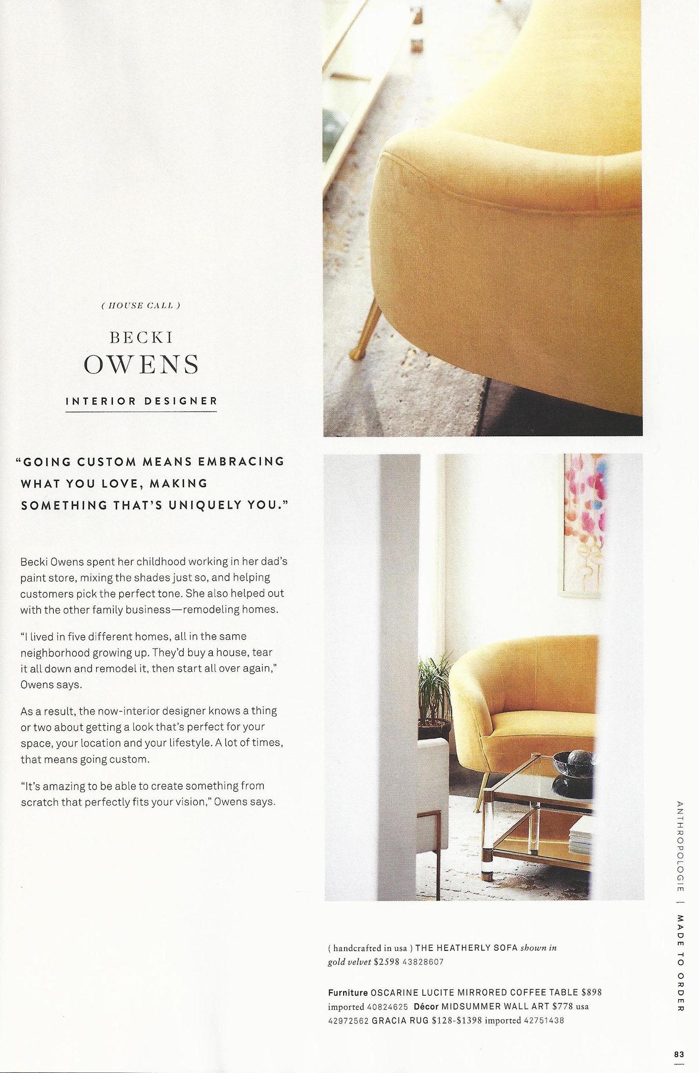 Anthropologie Home '17 Mailer - Lifestyle Marketing