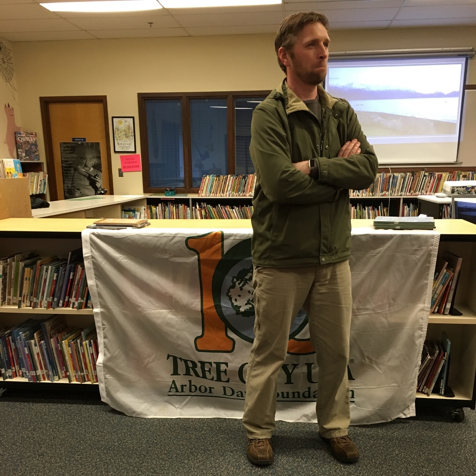 Seth Menser, Land Stewardship Supervisor for Portland Parks, spoke at the Arbor Month Celebration and City Council Meeting on April 10, 2017. Menser gave a fascinating presentation about his work and travels as a horticulture supervisor .
