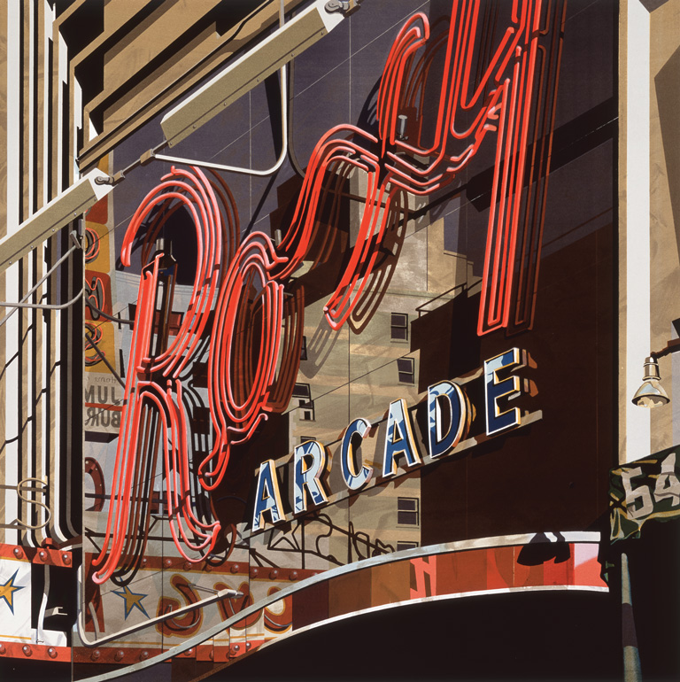 Robert Cottingham,  Roxy , 2002. Color lithograph. 46 × 46 in. Courtesy of Landfall Press, Inc. © Robert Cottingham and Landfall Press, Inc. Photo courtesy: Milwaukee Art Museum.