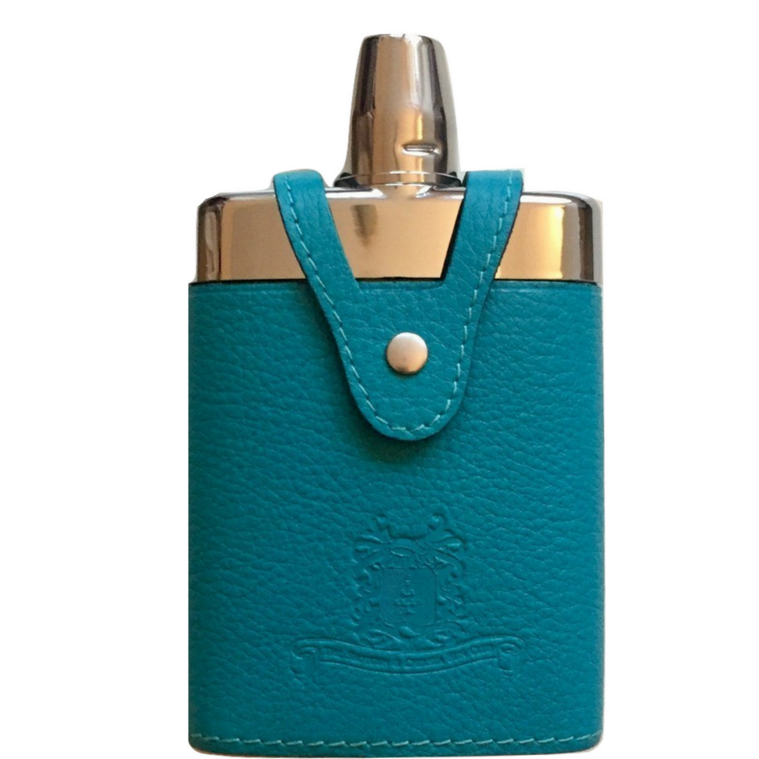 Luxury Leather & Glass Hipflask & pheasant neckalce