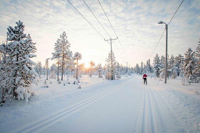 Perfect Cross-country skiing trail and beutiful light.  #kontikireisen  #reisenstattferien  #flyedelweiss  #visitlapland @visitlapland  #visitfinland @ourfinland  #arcticluosto @visitluosto #bodylpics #finland #suomi