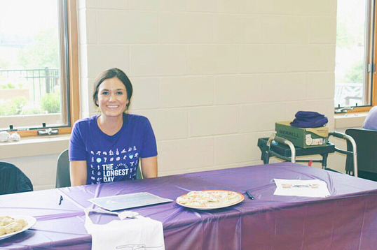 "Yesterday I spent the afternoon at the Urbandale Senior Recreation Center for The Longest day event, helping to raise awareness for an end to Alzheimer's. Sweet Stories' table was ""Buddy Up,"" encouraging social interaction as one of the 10 ways to love your brain. #ENDALZ 💜"