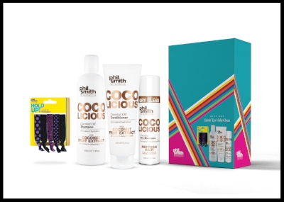 Phil Smith Be Gorgeous Coco Licious Gift Set - This great, affordable gift set contains everything needed for luscious hair, including Coconut Oil Shampoo, Coconut Oil Conditioner, Coconut Oil Dry Shampoo and Hold Up Gentle Tie Hairbands. All the products are vegan too. £8.50. Buy now.