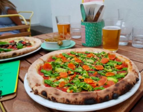 vegan pizza with pesto