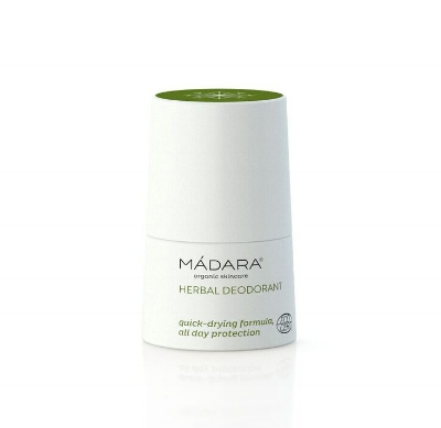 Madara Herbal Deodorant - With sage and peppermint, this deodorant will keep you dry and smelling lovely. This roll on is so compact it's just made for the gym bag. £12