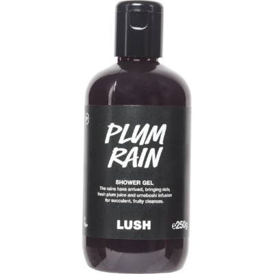 Lush Plum Rain Shower Gel - Plum juice and Sicilian mandarin oil give this shower gel a luxurious, heavenly scented feel. Kind to the skin and perfect for Autumn. £11.95