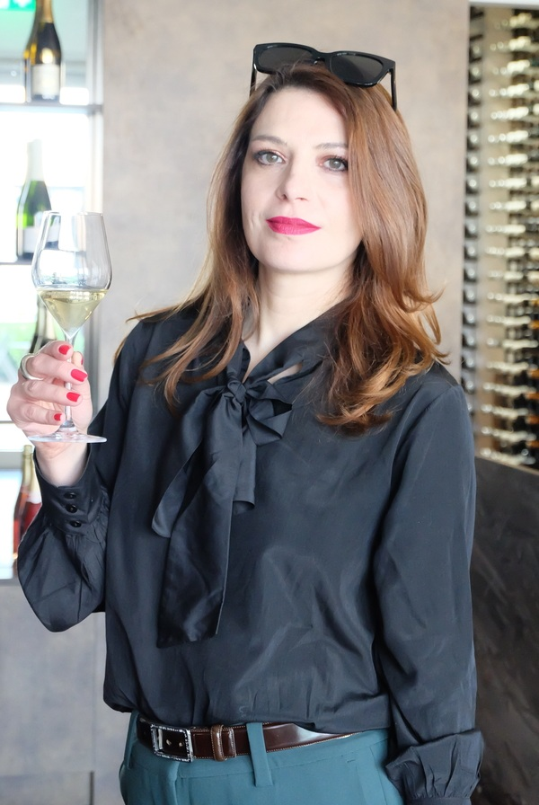 Stef enjoying her champagne and wine tasting. Picture: Christopher Walkey