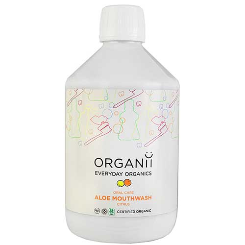 Organii Aloe Mouthwash - Organic and vegan certified, Organii Aloe Mouthwash with Eucalyptus or Citrus prevents plaque build up and removes bad bacteria for fresh breath and healthy teeth and gums. £5.95 for 500ml