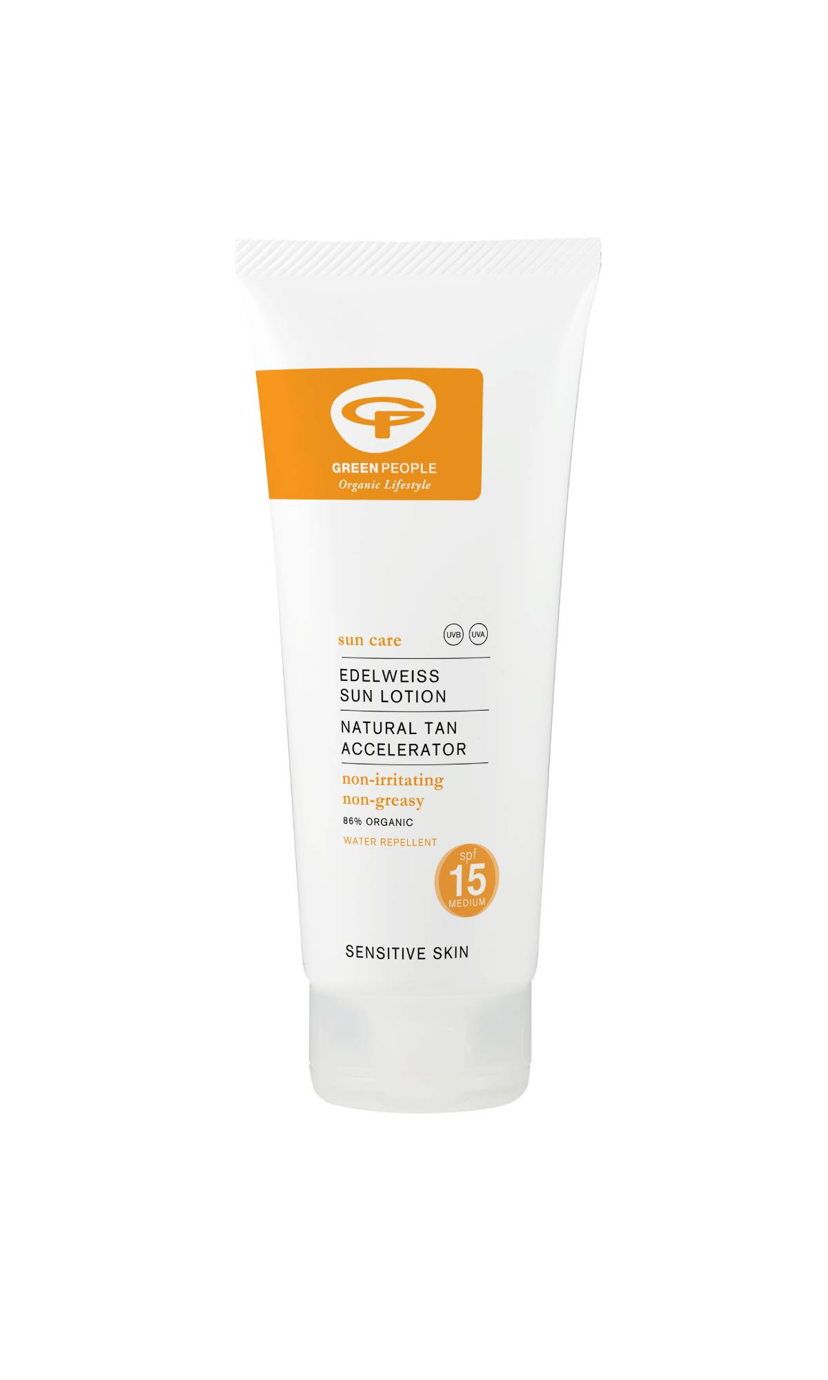 Green People Edelweiss Sun Lotion Natural Tan Accelerator SPF15 - SPF15 may seem quite a bit lower than 30, however it blocks out about 93% of UVB rays (whilst an SPF 30 blocks out 97%), so, as long as it's reapplied every couple of hours, it does an excellent job at protecting from the sun. With organic aloe vera, edelweiss, inositol, green tea and moisturising avocado and without parabens, silicone, alcohol, petrochemicals and other 'nasties', this sunscreen helps you tan faster and maintain the tan for longer. This cream also helps prevent heat rashes and is ideal for those with sensitive skin. Its packaging is fully recyclable. £21.50