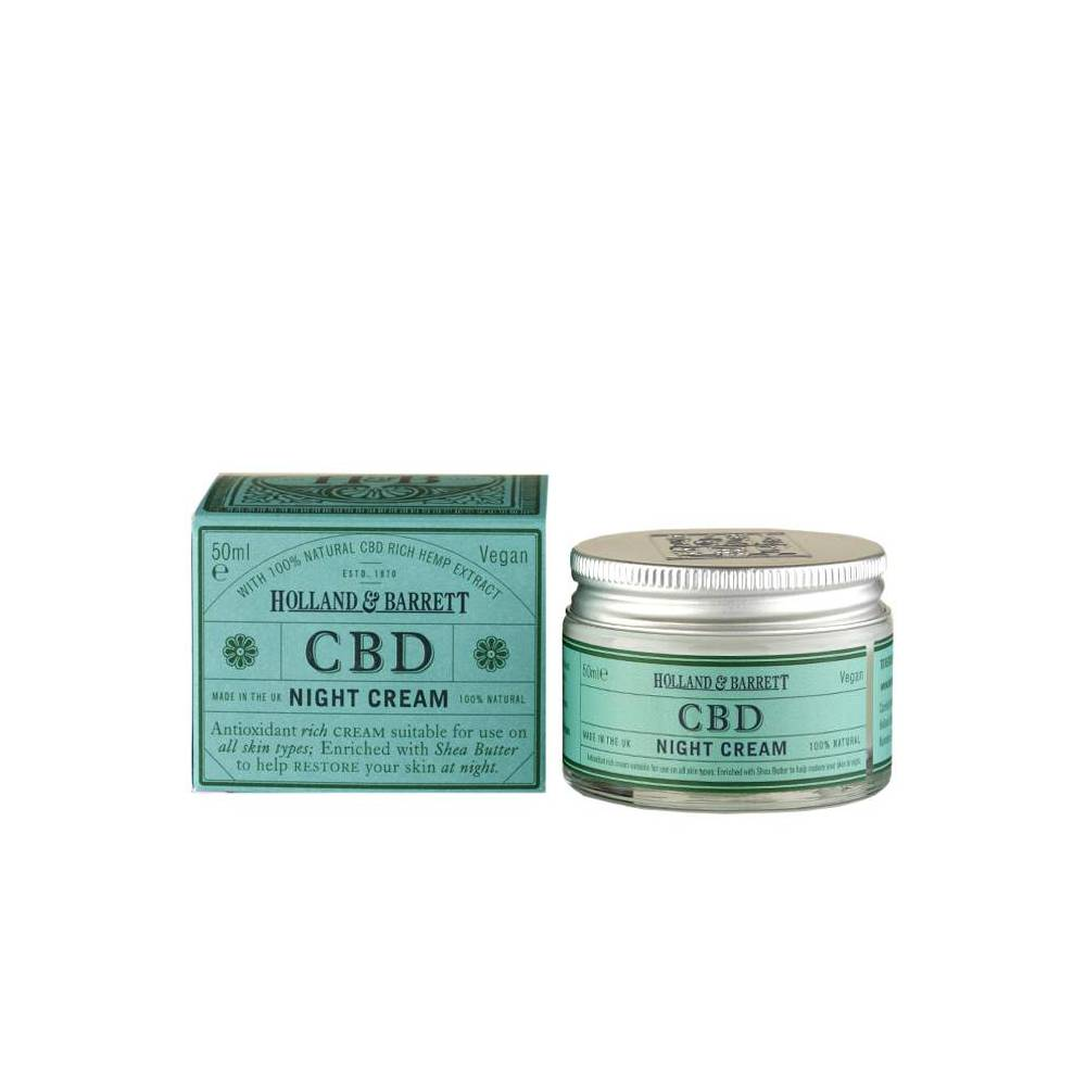 Holland and Barrett CBD Night Cream, £14.99 - Shea butter and CBD oil team up in this product, to create a super hydrating face cream, that sinks into skin overnight, leaving you with a plump, calm complexion in the morning. Not only does CBD oil make an appearance, nourishing super-ingredient hemp seed oil also features, meaning this is a moisture mix of dreams that really tackles dehydration and works to quench thirsty skin. Buy one here.
