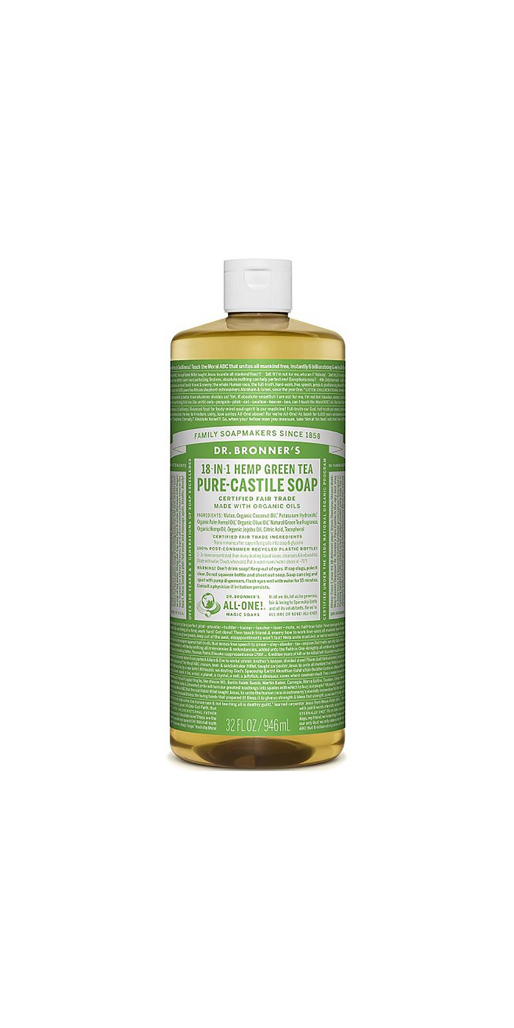 Dr Bronner Hemp Green Tea Castile soap, £19.49 - This 18-in-1 soap gives you a sensational clean, but thanks to the hydrating hemp oil it also produces an indulgent, velvety lather than nourishes from head to toe. It doesn't contain any synthetic foaming agents or preservatives and is completely biodegradable. It's a totally natural way to keep skin clean and fresh, with a silky-smooth feel post shower. We love it. Get your soap on here.