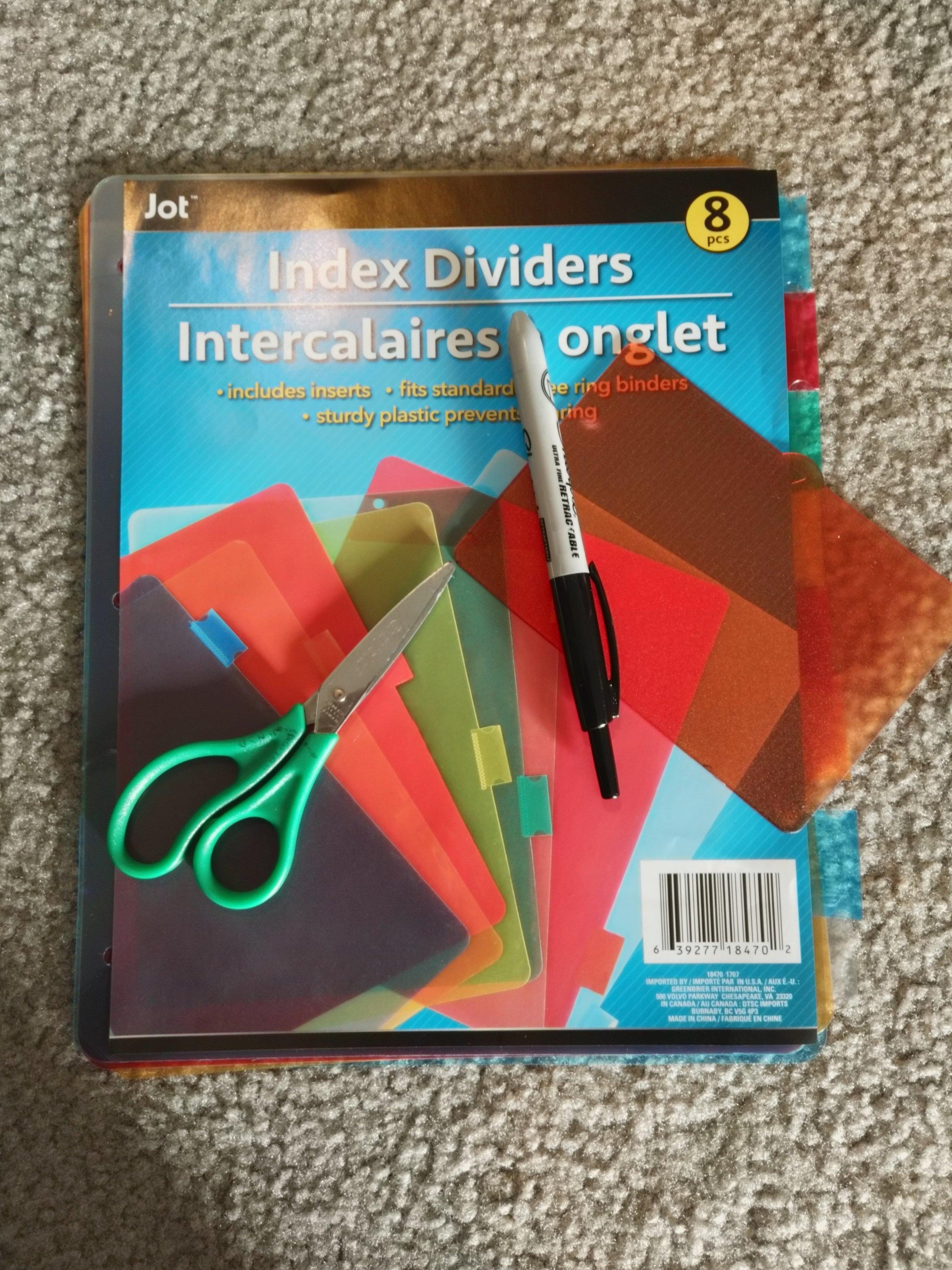 Plastic Dividers, Scissors, Sharpie, LED Filter