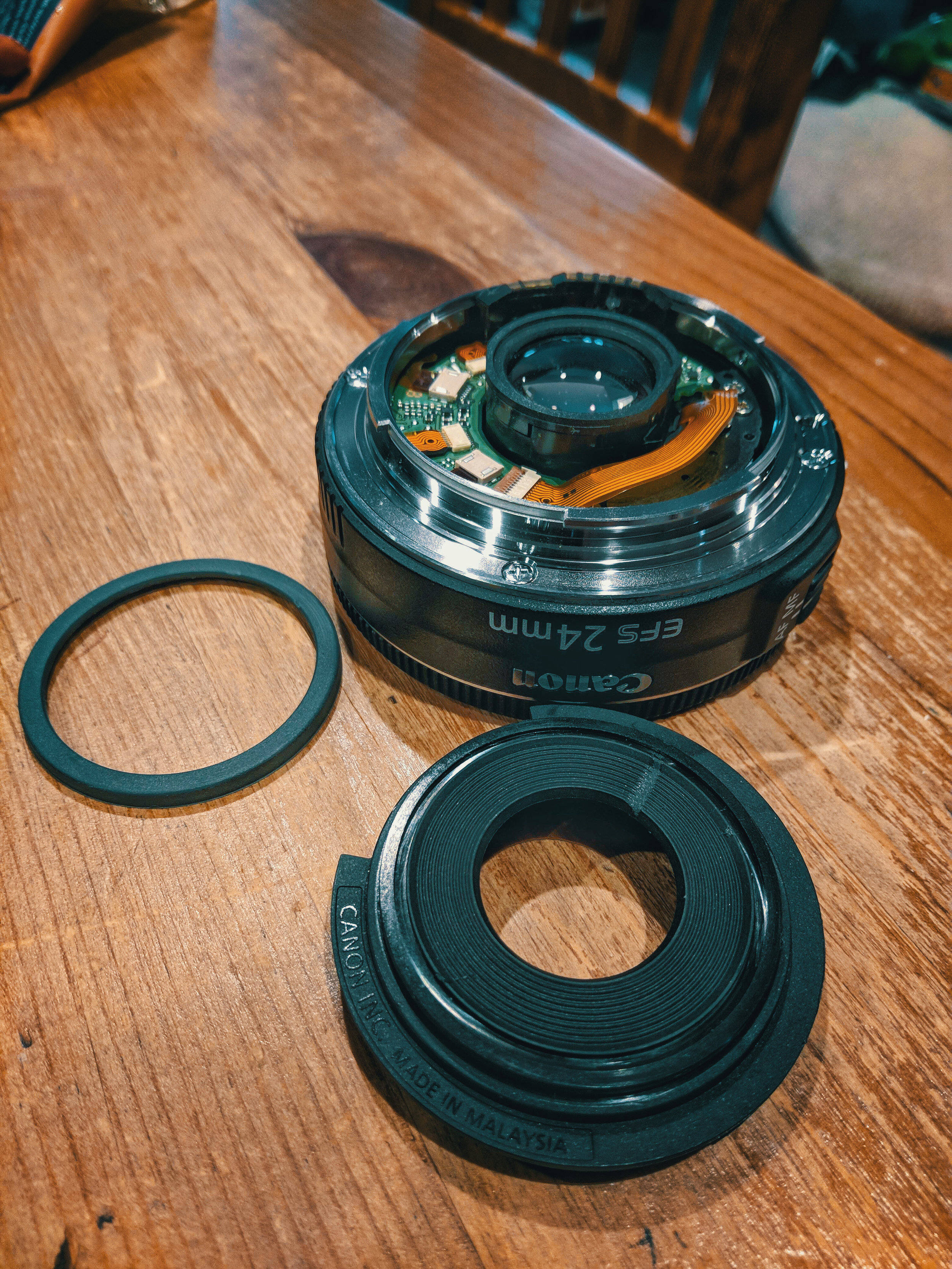 The Canon 24mm 2.8 Pancake Lens post flange removal