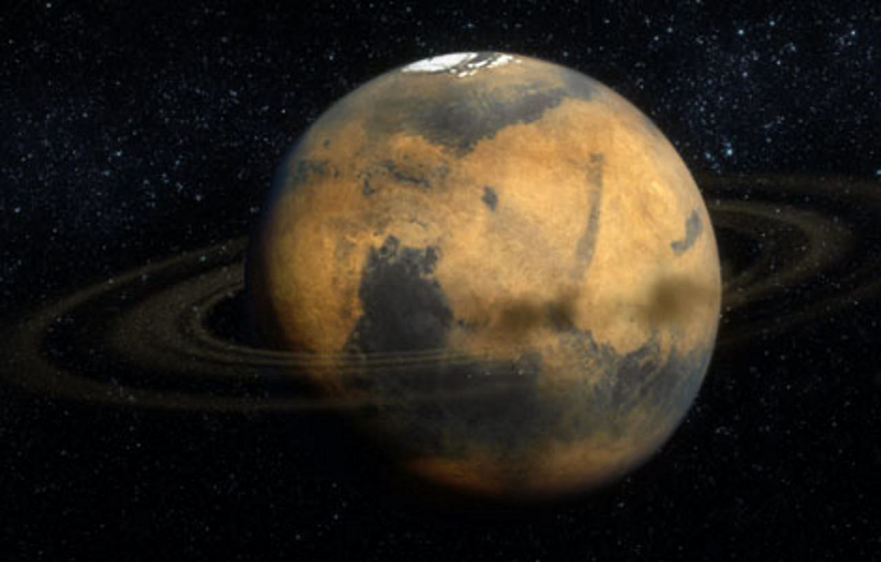 Artist's conception of just how fancy Mars will look when it turns one of its clunky moons into a smart and stylish ring(s).  Photo Credit: © Hive Studios