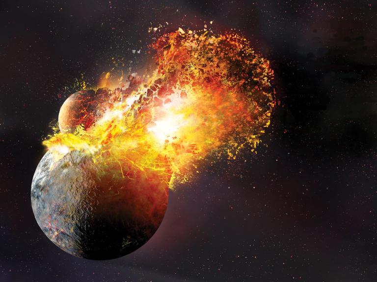 Księżyca Powstawanie's depiction of the Theia impact event.